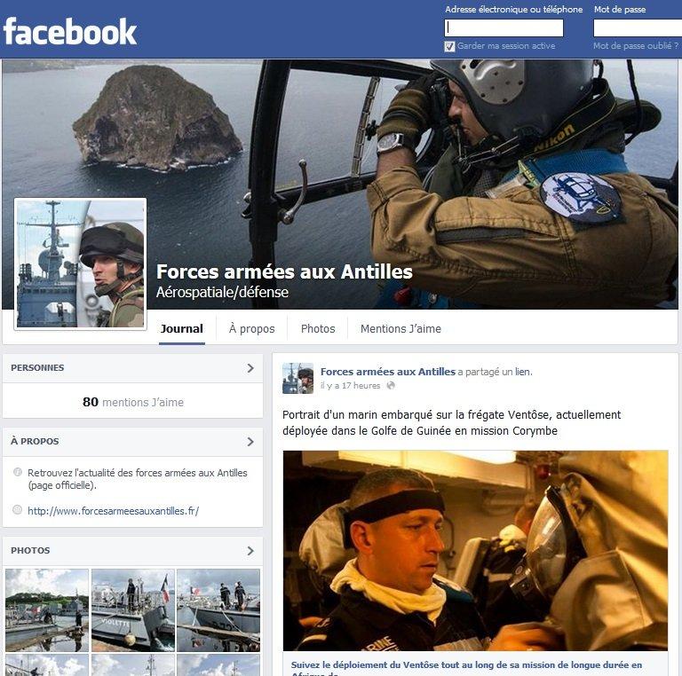 Création de la page Facebook Forces armées aux Antilles